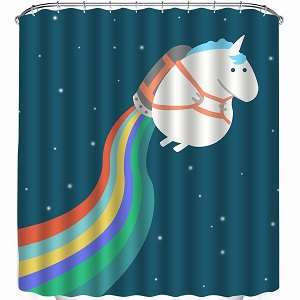 rocket unicorn shower curtain