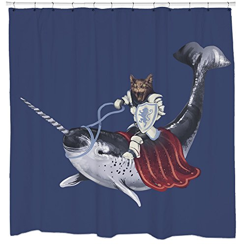 Funny shower curtain cat riding narwhal